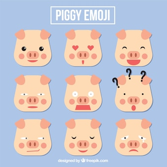 幾何学的なスタイルで豚の絵文字セット