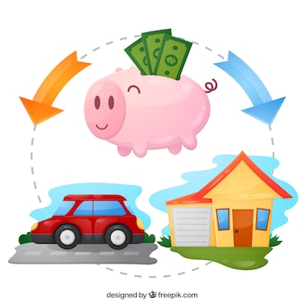 Piggy bank with savings for car and house