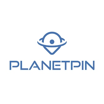 Pin logo with planet design