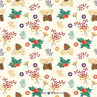 Pine Nuts and Mistletoe Pattern