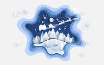 Pine tree on a snowy hill in winter. santa claus with gifts and deer flying over the clouds. design paper art and crafts