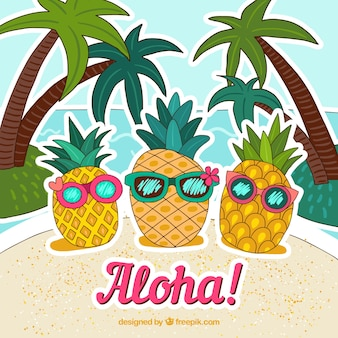 Pineapple background with hand drawn sunglasses