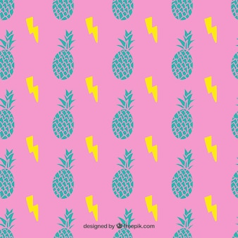 Pineapples pattern in colorful style