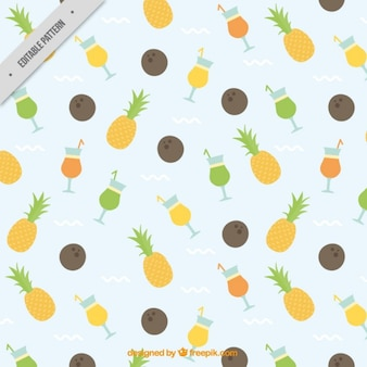 Pineapples with cocktails pattern