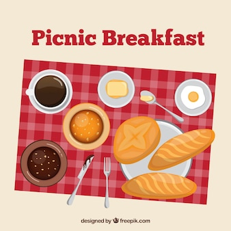 Pinic breakfast in a top view