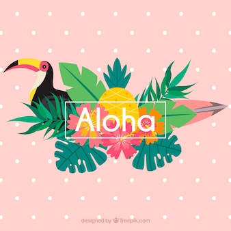 Pink aloha background with toucan and leaves
