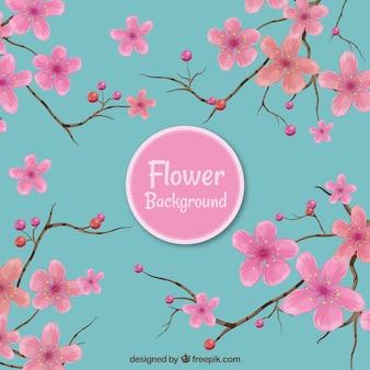 ピンクと青の花の背景
