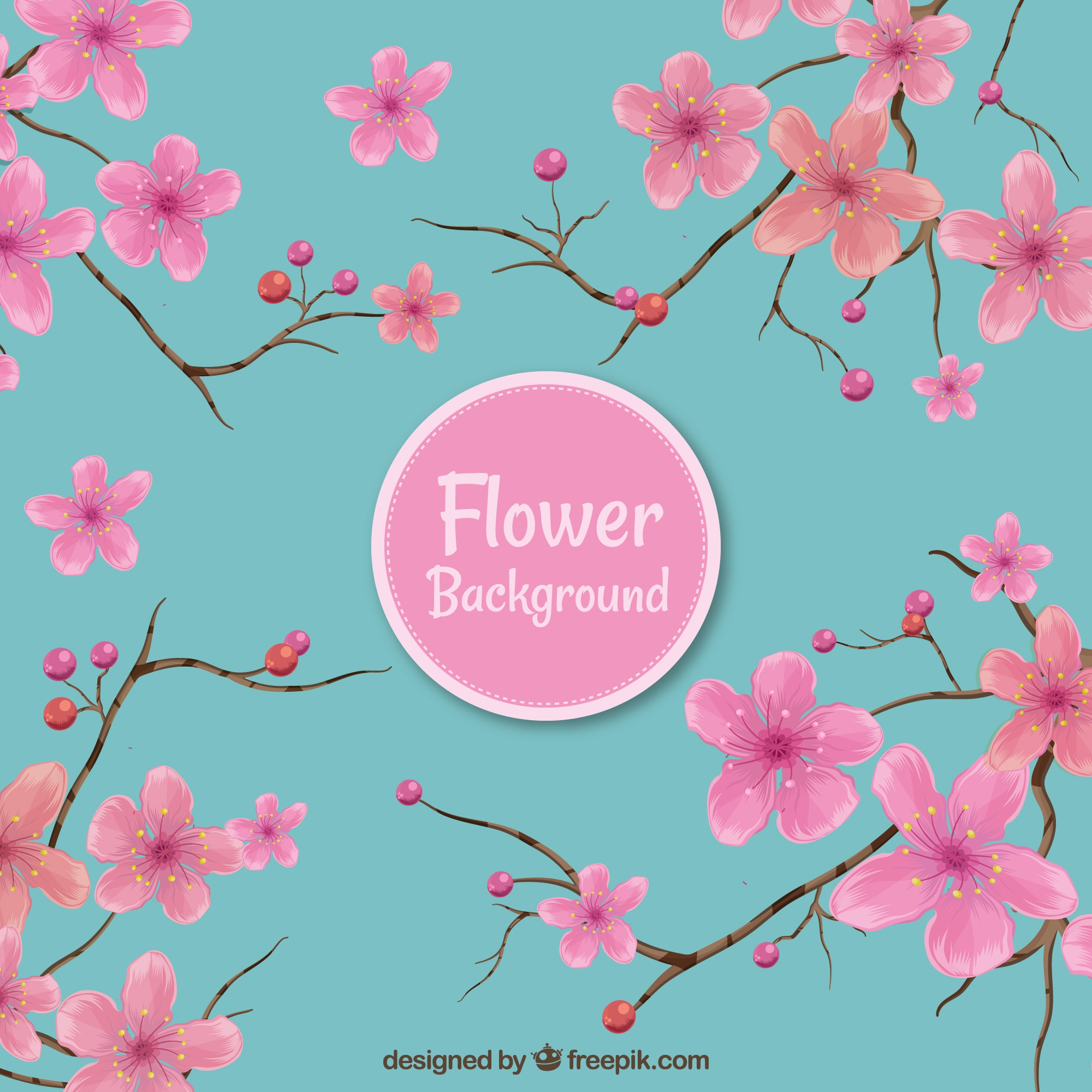 Pink and blue floral background