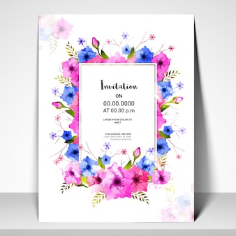 Pink and blue flowers decorated Invitation Card.