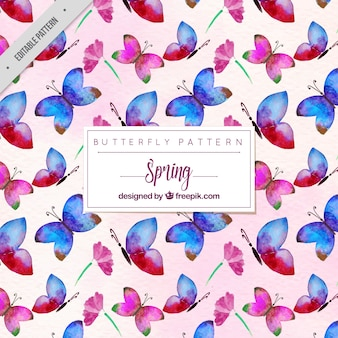 Pink and blue watercolor butterflies pattern