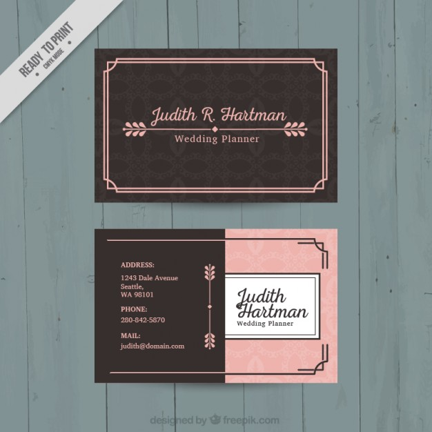 Pink and brown business card