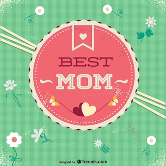 Pink and green best mom badge with daisies and hearts