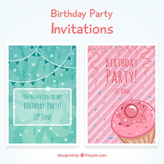Pink and green birthday invitations