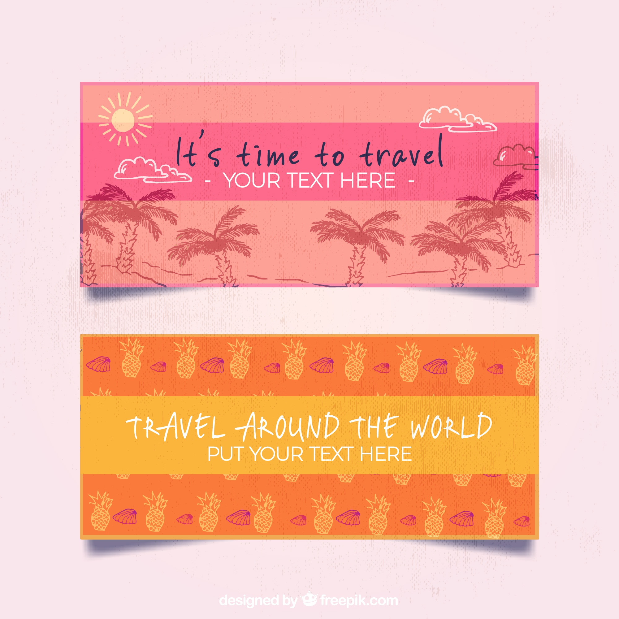 Pink and orange travel banner