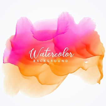 Pink and orange watercolor stain background