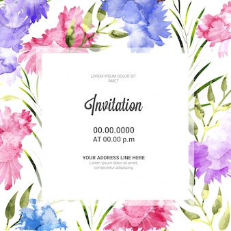 Pink and Purple flowers decorated Invitation Card.