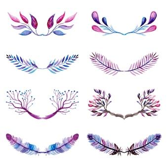 「ピンクと紫の水彩花の要素コレクション」