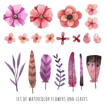 Pink and purple watercolor flowers and leaves