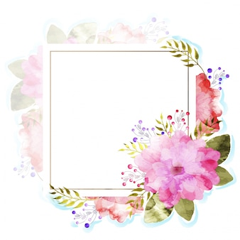 Pink and red watercolor flowers decorated Invitation Card.