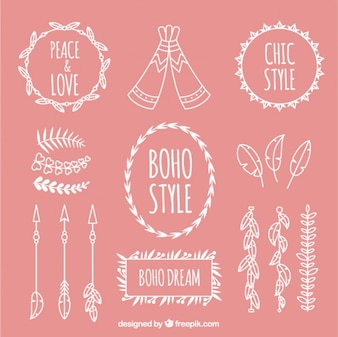 Pink and white boho elements