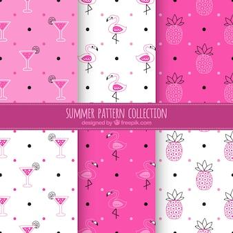 ピンクと白の夏のパターンコレクション
