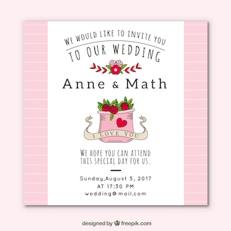 Pink and white wedding card