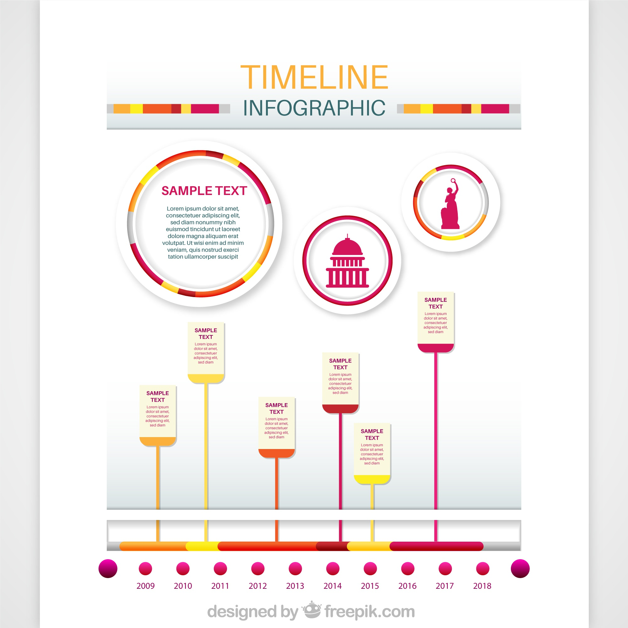 Pink and yellow infographic timeline design