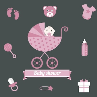 Pink baby shower background for girl