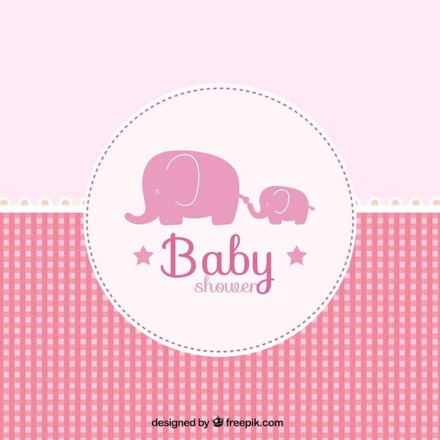 Pink Baby Shower Card In Checkered Style