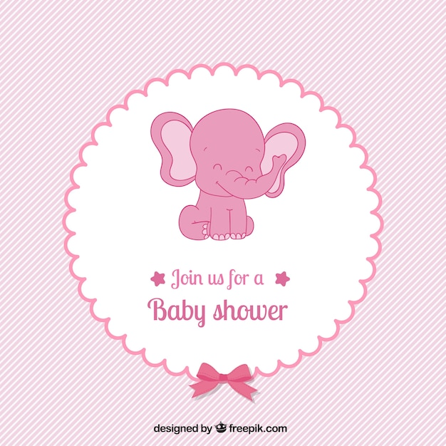 Pink Baby Shower Card In Lovely Style