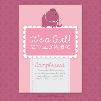 Pink baby shower card with a cute elephant