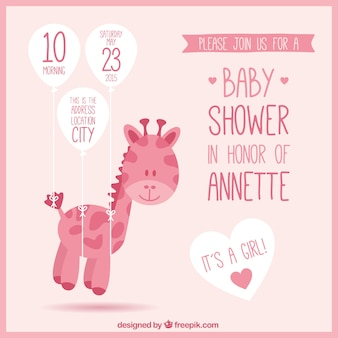 Pink baby shower invitation with a giraffe