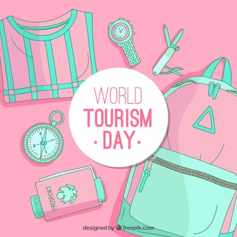 Pink background about world tourism day