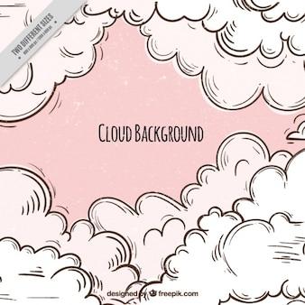 Розовый фон рисованной облака