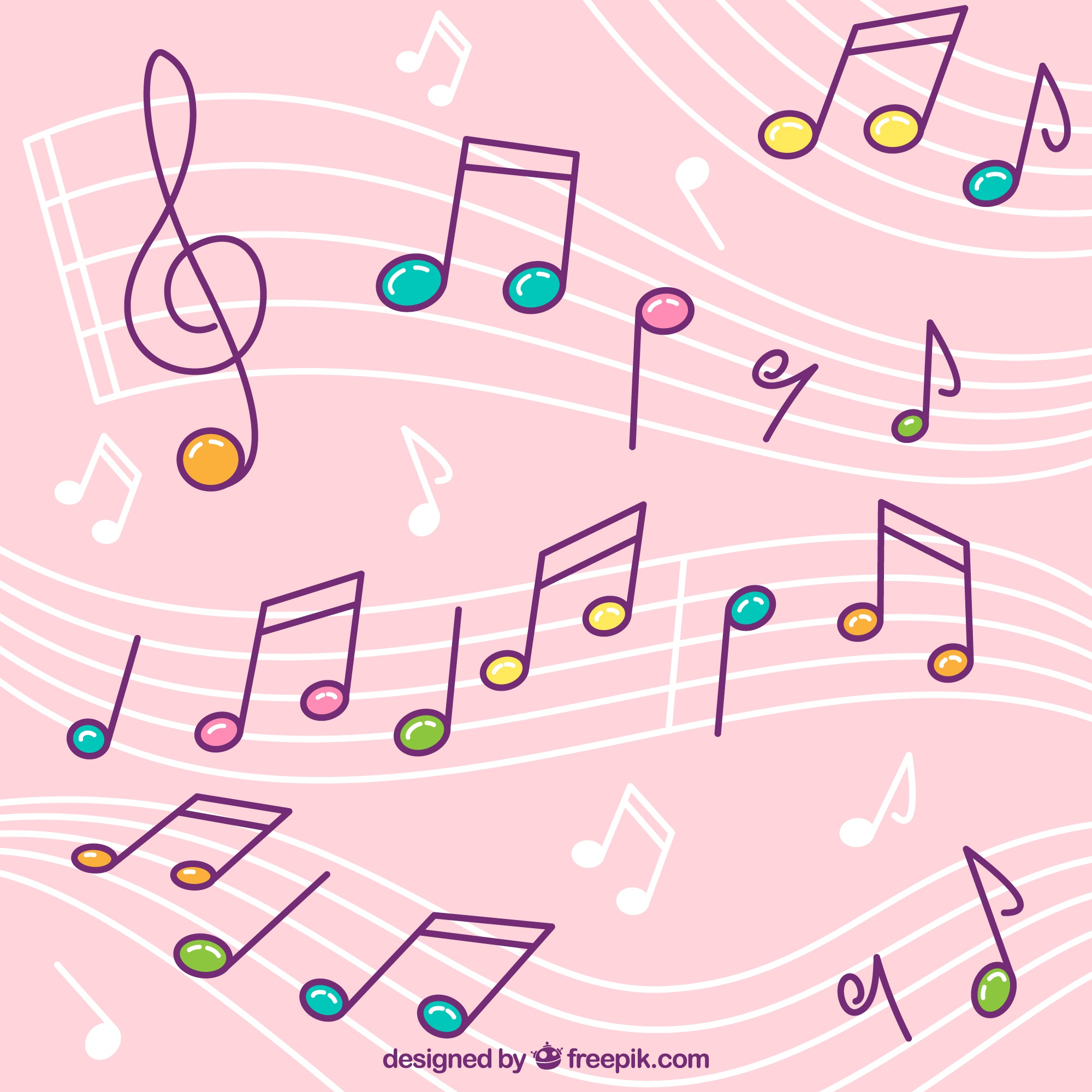Pink background of pentagrams with colorful musical notes