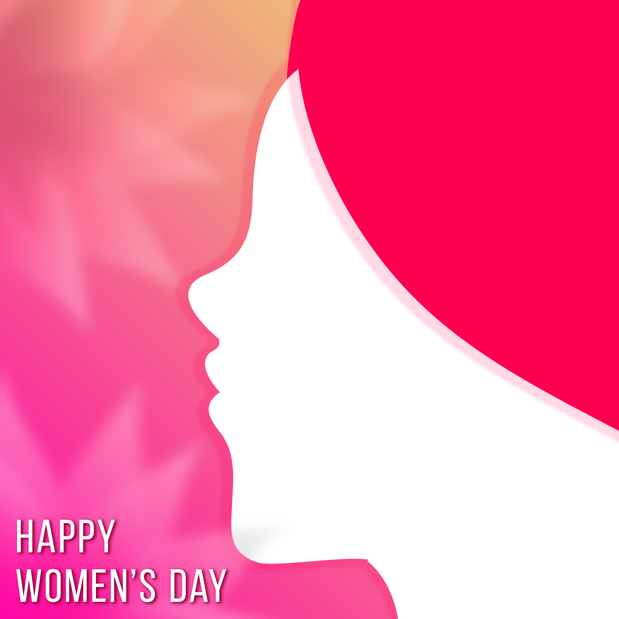 Pink background with a white silhouette for woman's day