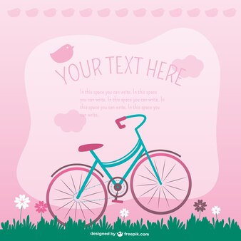 Pink background with birds and bicycle