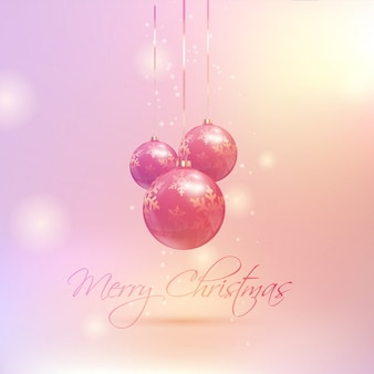 Pink background with christmas balls