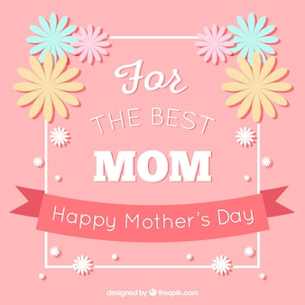 Pink background with decorative flowers for mother's day