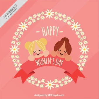 Pink background with floral wreath and two girls for women's day