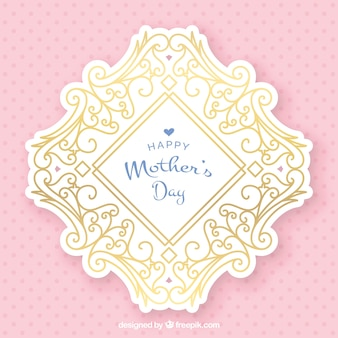 Pink background with golden mother's day stickers