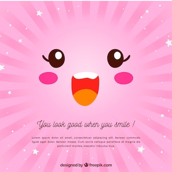 Pink background with happy face