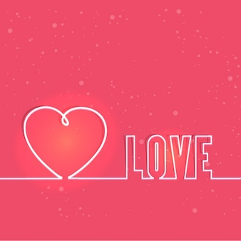 Pink background with heart and the word love