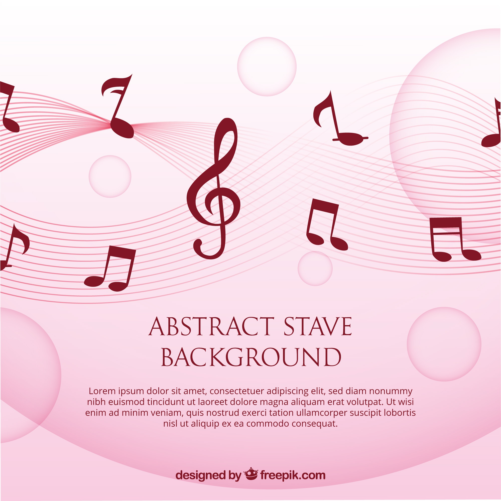 Pink background with musical notes and treble clef