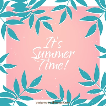 Pink background with vegetation for summer