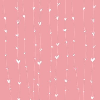 Pink background with white hearts on lines