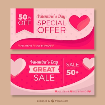 Pink banners with hearts and special offers for valentine's day