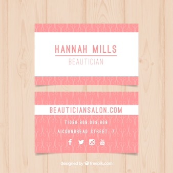Pink beauty salon card with small scissors