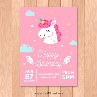 Pink birthday card with a cute unicorn