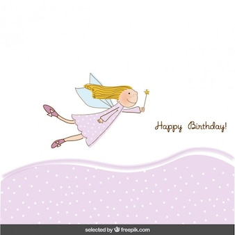 Pink birthday card with fairy girl
